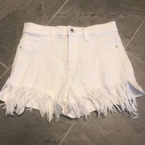 SNEAK PEEK frayed white shorts